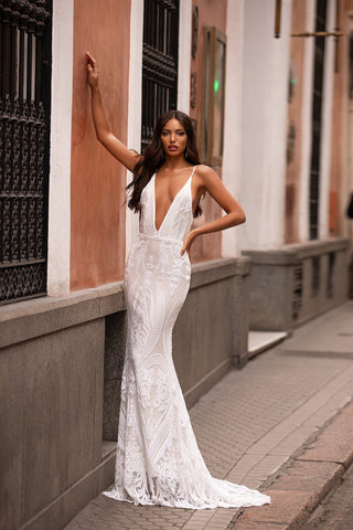 Lilana - White Sequin Backless Gown with Plunge Neck & Mermaid Train
