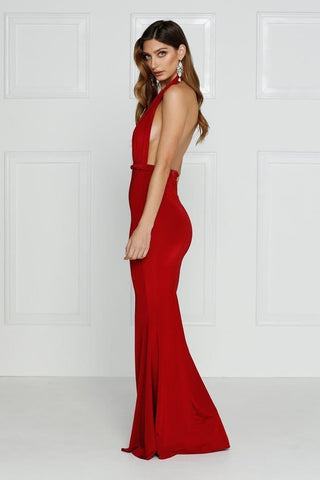 Florencia - Red Multiway Jersey Gown with Plunge Neckline & Low Back