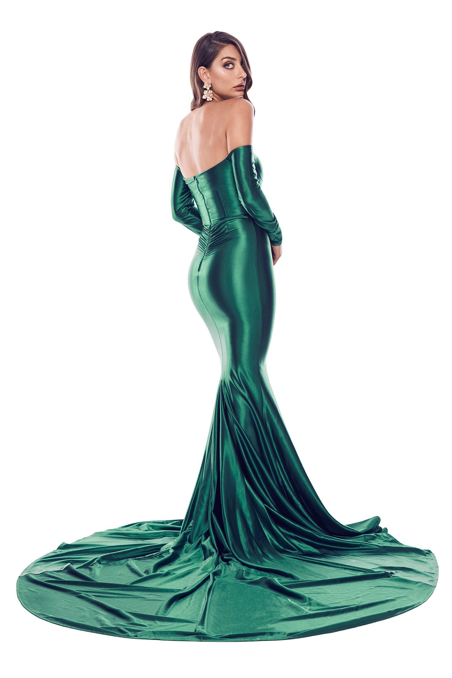 Rozalina Satin Gown - Emerald