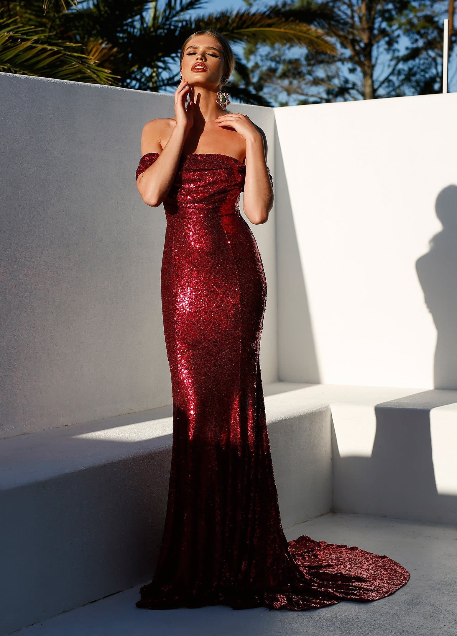 838260a18027 Silicya - Wine Red Sequin Gown with Off-Shoulder Sleeves – A&N Luxe ...
