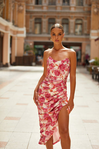 Zinna Dress - Pink Floral Strapless Midi with Curved Neckline & Slit