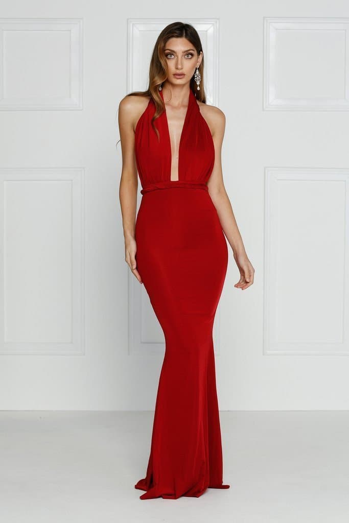 6c915f9fc26d Florencia - Red Multiway Jersey Gown with Plunge Neckline   Low Back ...