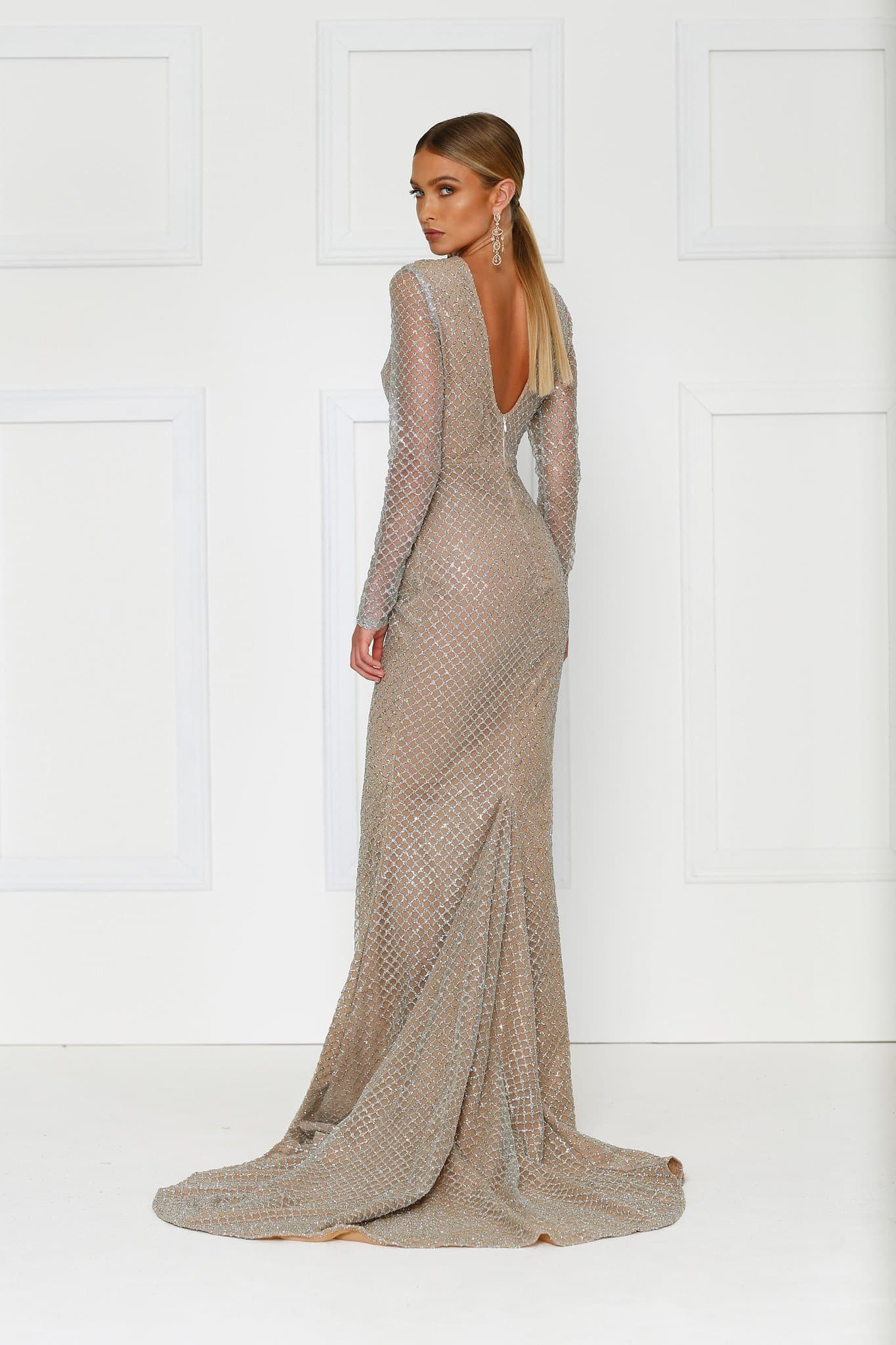 Giselle - Silver Glitter Gown with Long Sleeves & Low Back