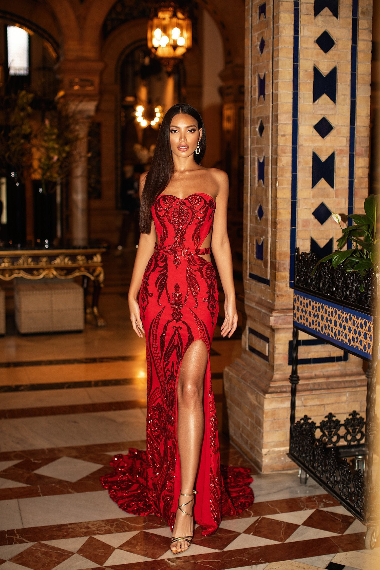 Levina - Red Strapless Sequin Gown with Side Slit & Open Back