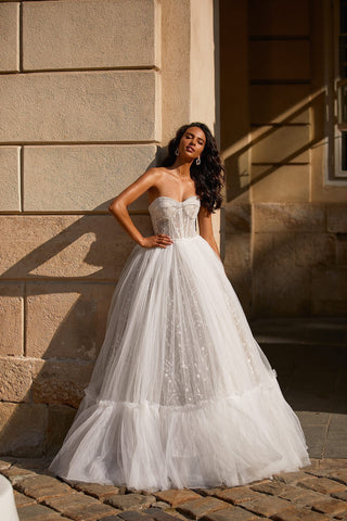 A&N Tristia - White Tulle Strapless Bustier A-Line Boho Bridal Gown