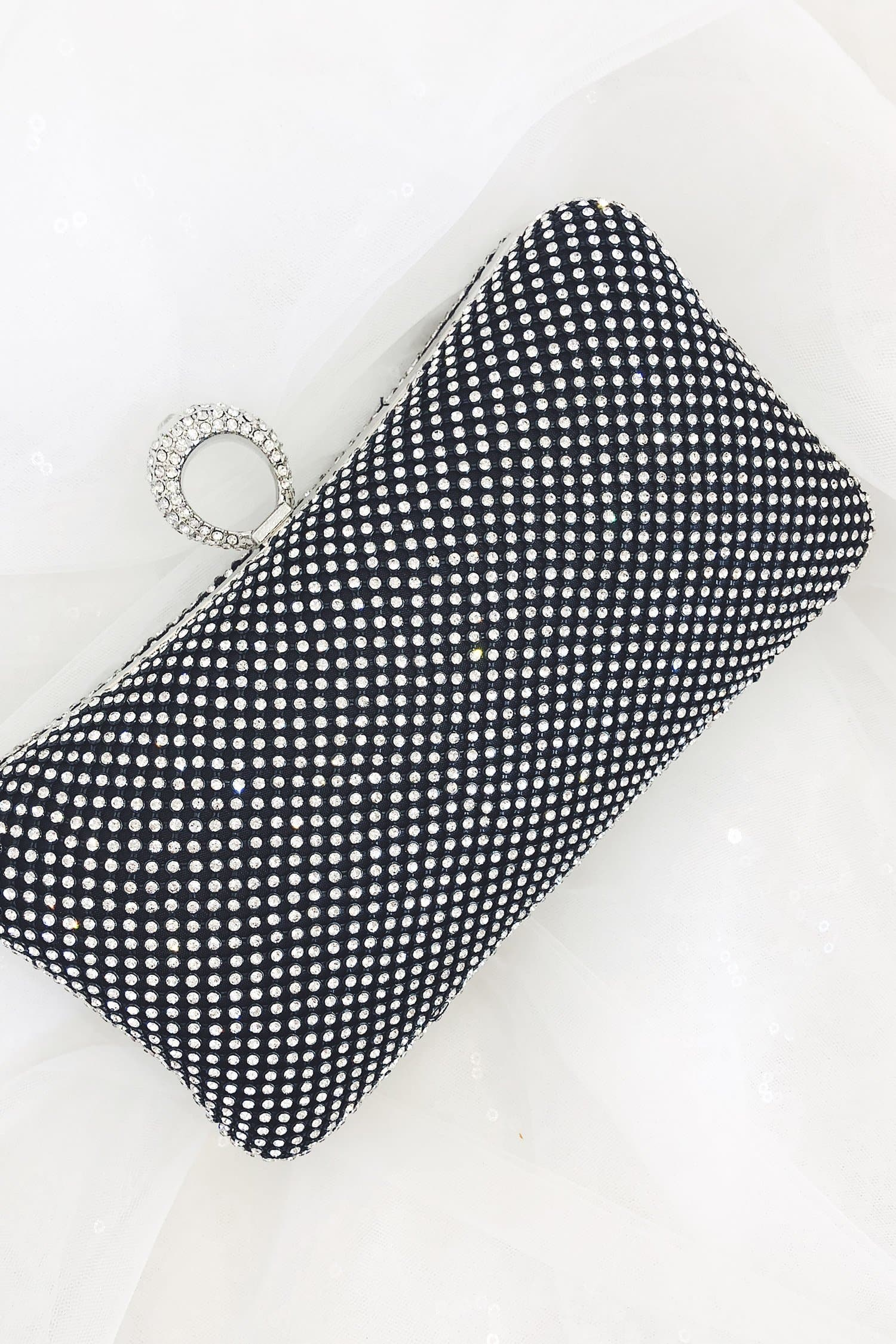 Glazori Serena Clutch - Black Rectangle Diamante Statement Clutch