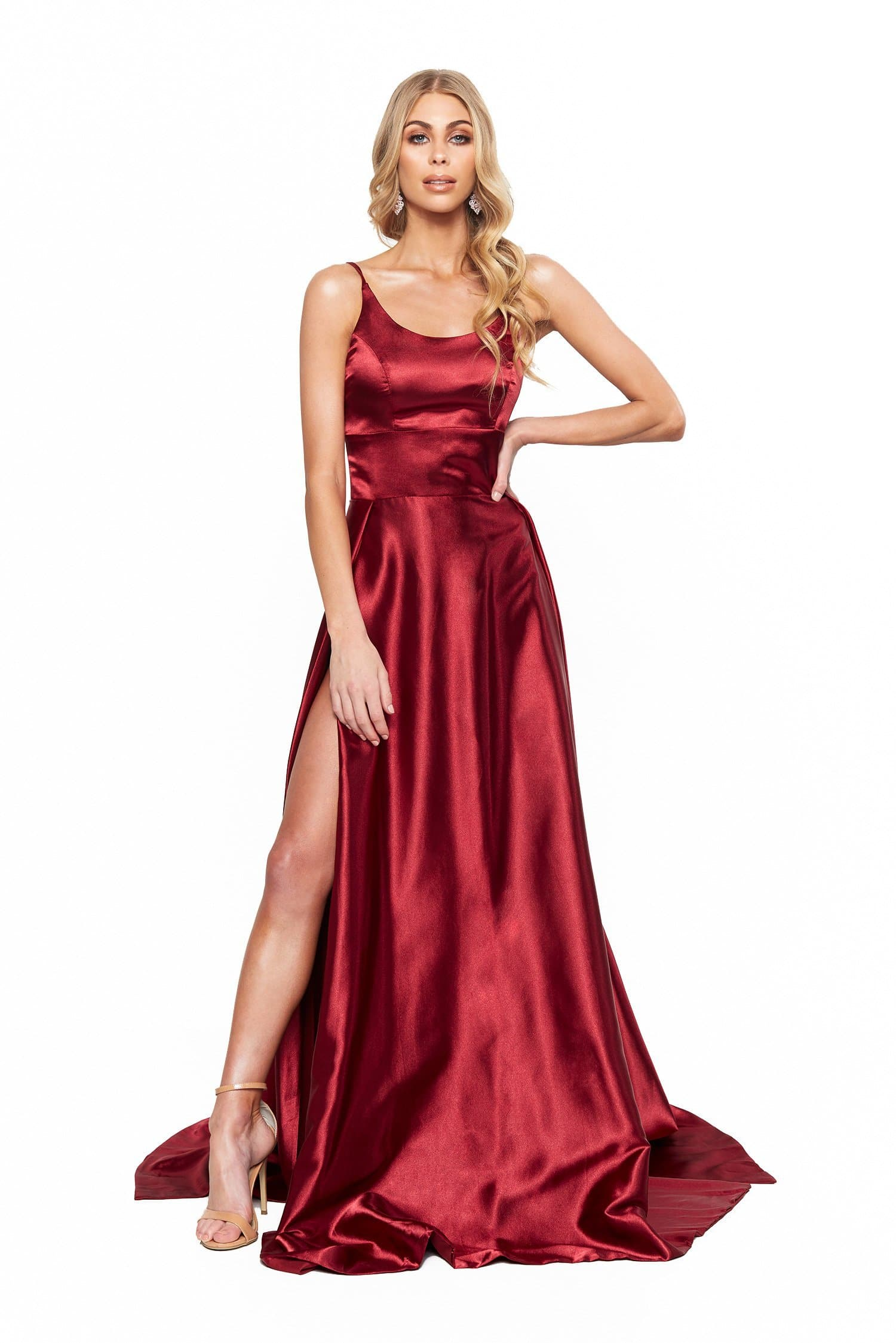 Vanessa Satin Gown - Burgundy Satin Gown With Mermaid Train and Slit