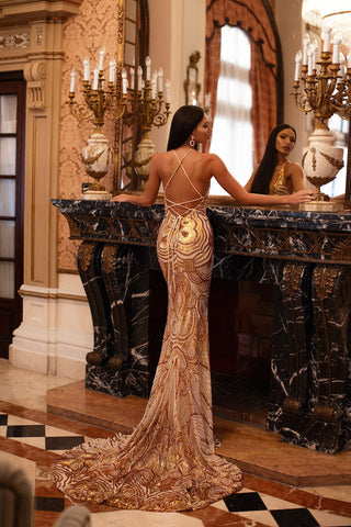 Lolita - Gold Sequin Mermaid Gown with Plunge Neck & Lace-Up Back