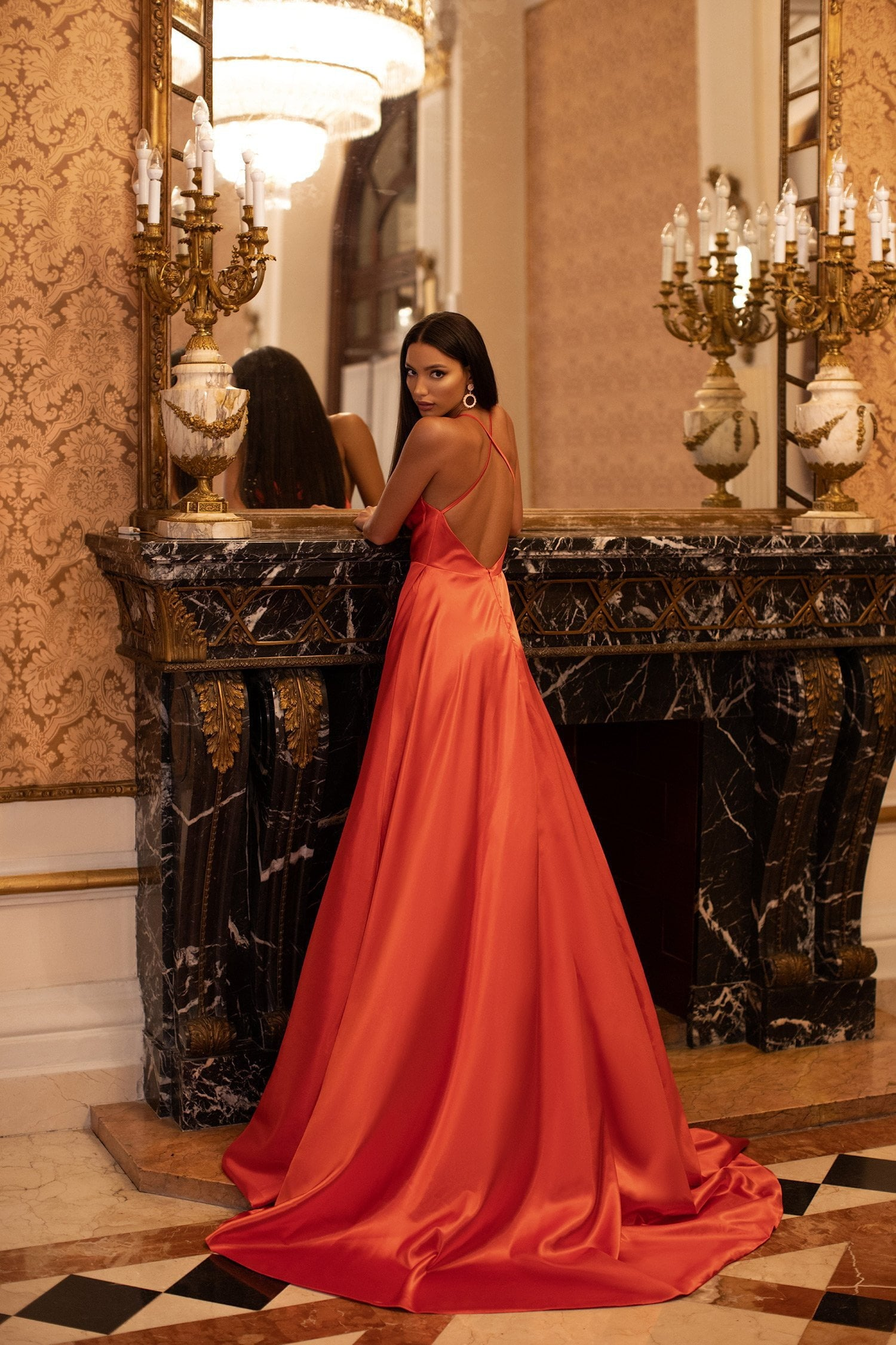 Livnia - Orange Satin A-Line Gown with Cowl Neck & Criss Cross Back