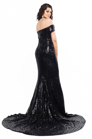 A&N Curve Renata Sequin Off-Shoulder Gown - Black
