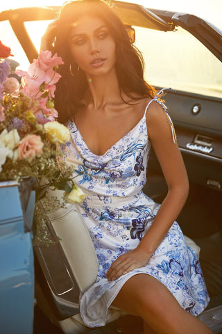 Alba Dress - White & Blue Floral A-Line Mini Dress with Cowl Neck
