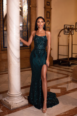 Zerlina - Emerald Patterned Sequin Gown with Side Slit & Lace Up Back