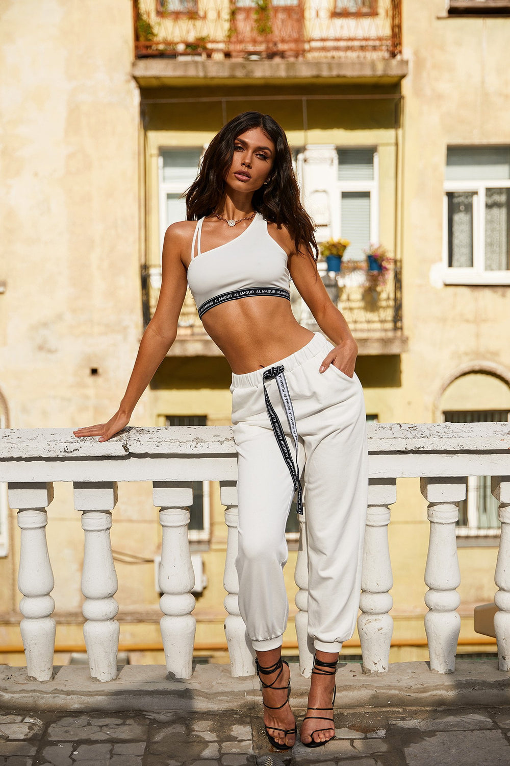 Candice Bra - White Cropped Bralette Top With Logo Graphic Detail
