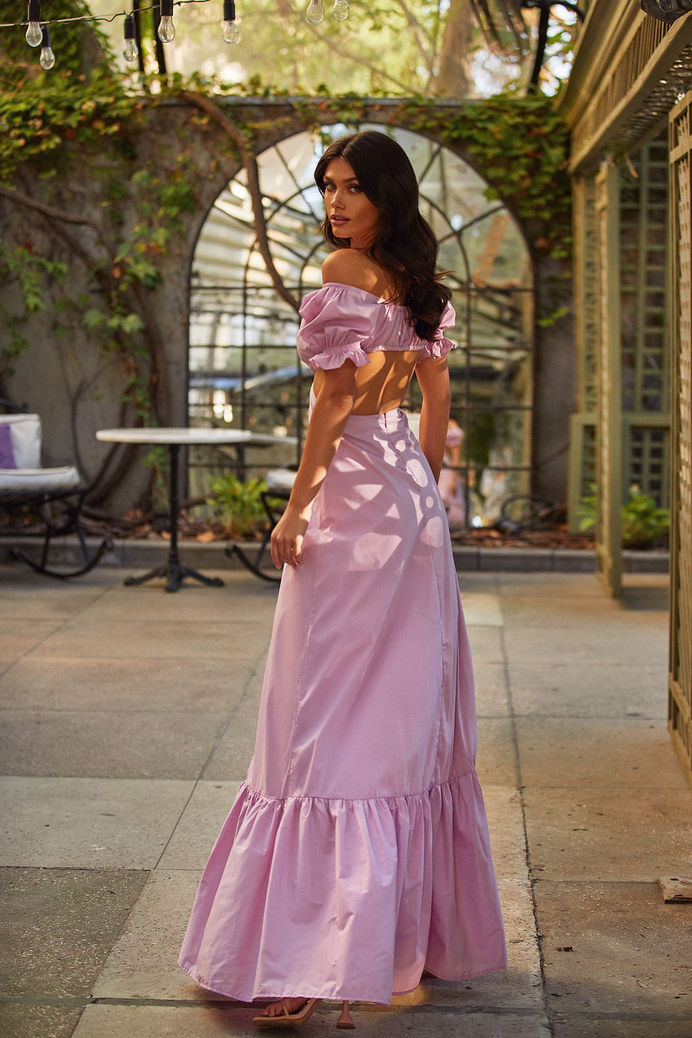 Rina Dress - Lilac Maxi Dress with Cut-Out Waist & Puffy Sleeves