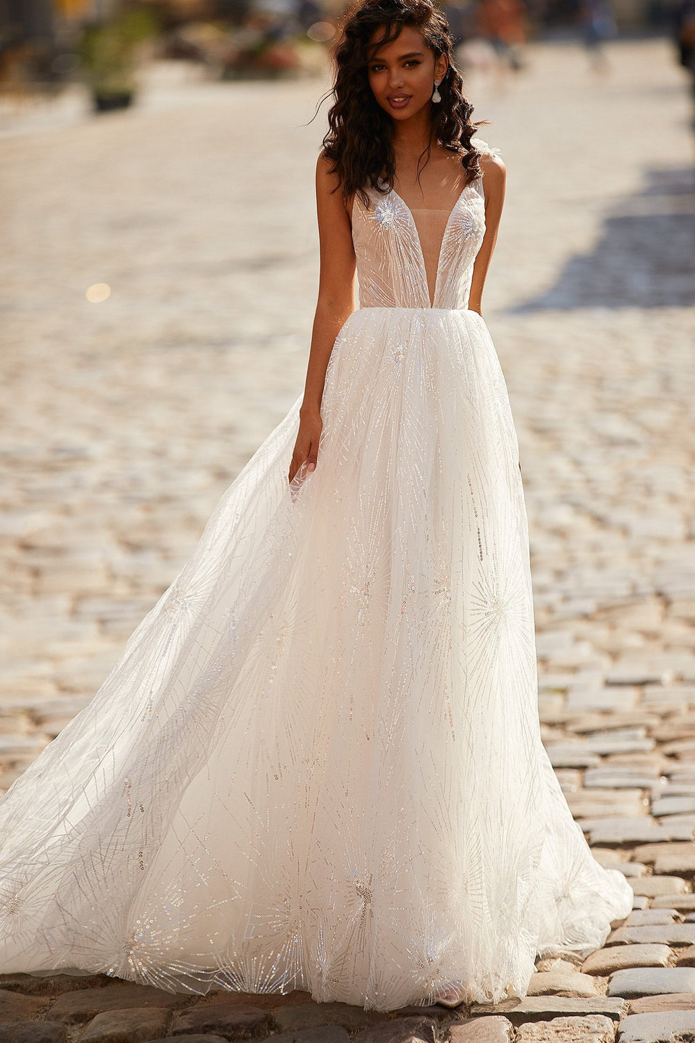 A&N Avery - Shimmering Tulle Boho Bridal Gown with Lace-Up Back