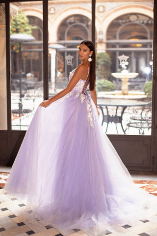 Ysabelle - Lilac Tulle Embellished A-Line Gown with Lace-Up Back