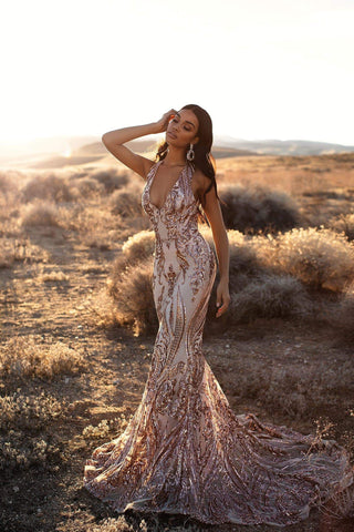 A&N Luxe Ariya - Rose Gold Patterned Sequin HalterNeck Mermaid Gown