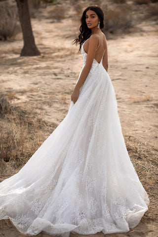 A&N Harlow - White Boho Bridal Gown With Embellished Bust & Open Back