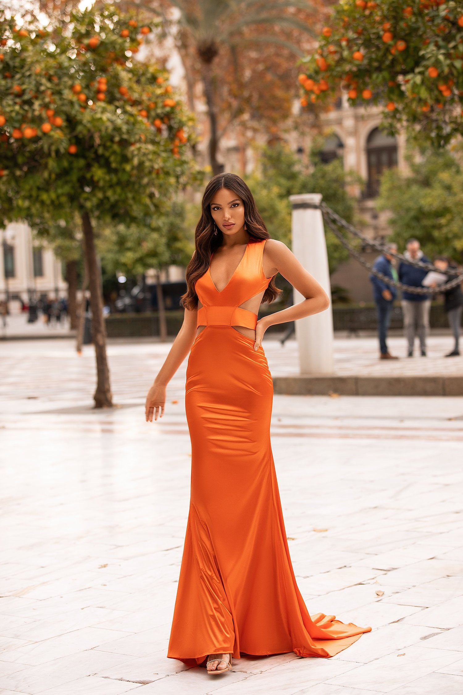 Alondra  - Orange Satin Mermaid Gown with Plunge Neck & Cut Out Details