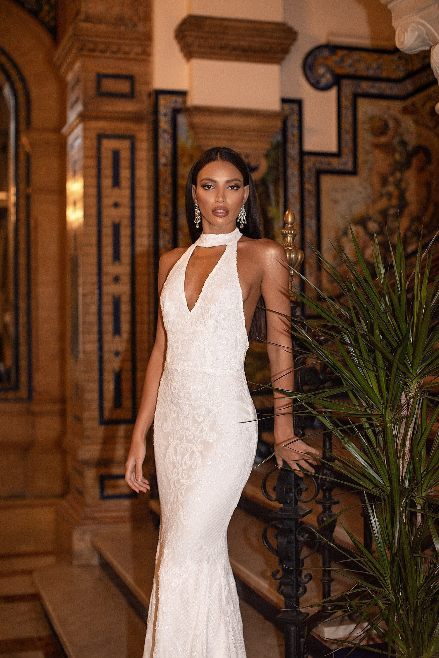 Jordyn - White Halter Plunge Neck Backless Sequin Gown with Train