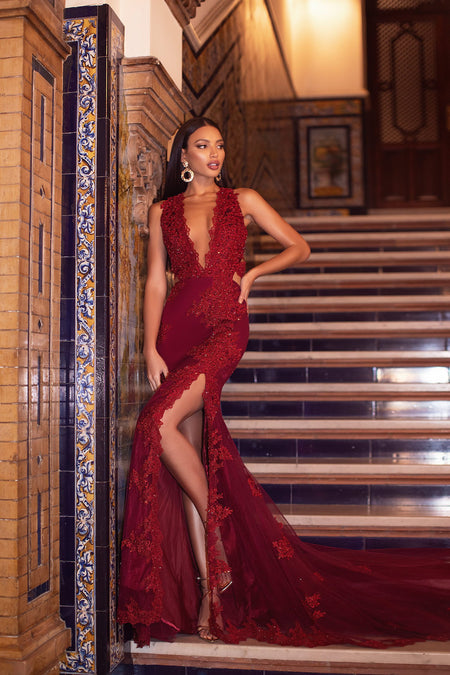 Florencita Sequin Gown - Deep Red
