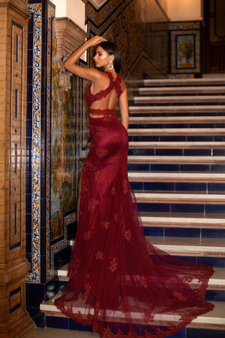 A&N Luxe Rosalie - Burgundy Beaded Lace Embellished Gown with Open Back