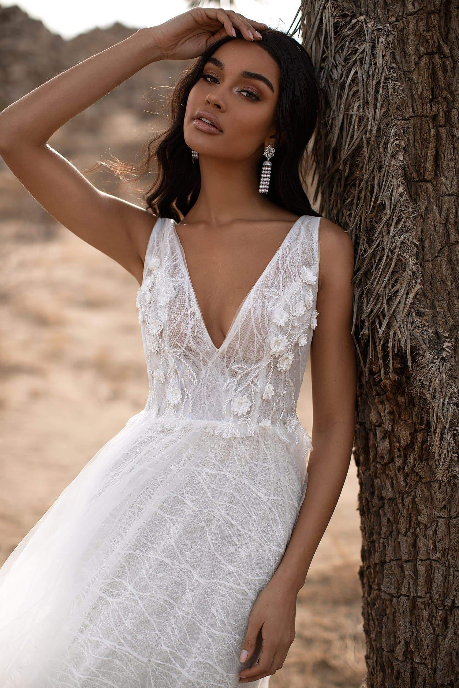 A&N Hazel - White Boho Bridal Gown with a Floral Embroidered Bust