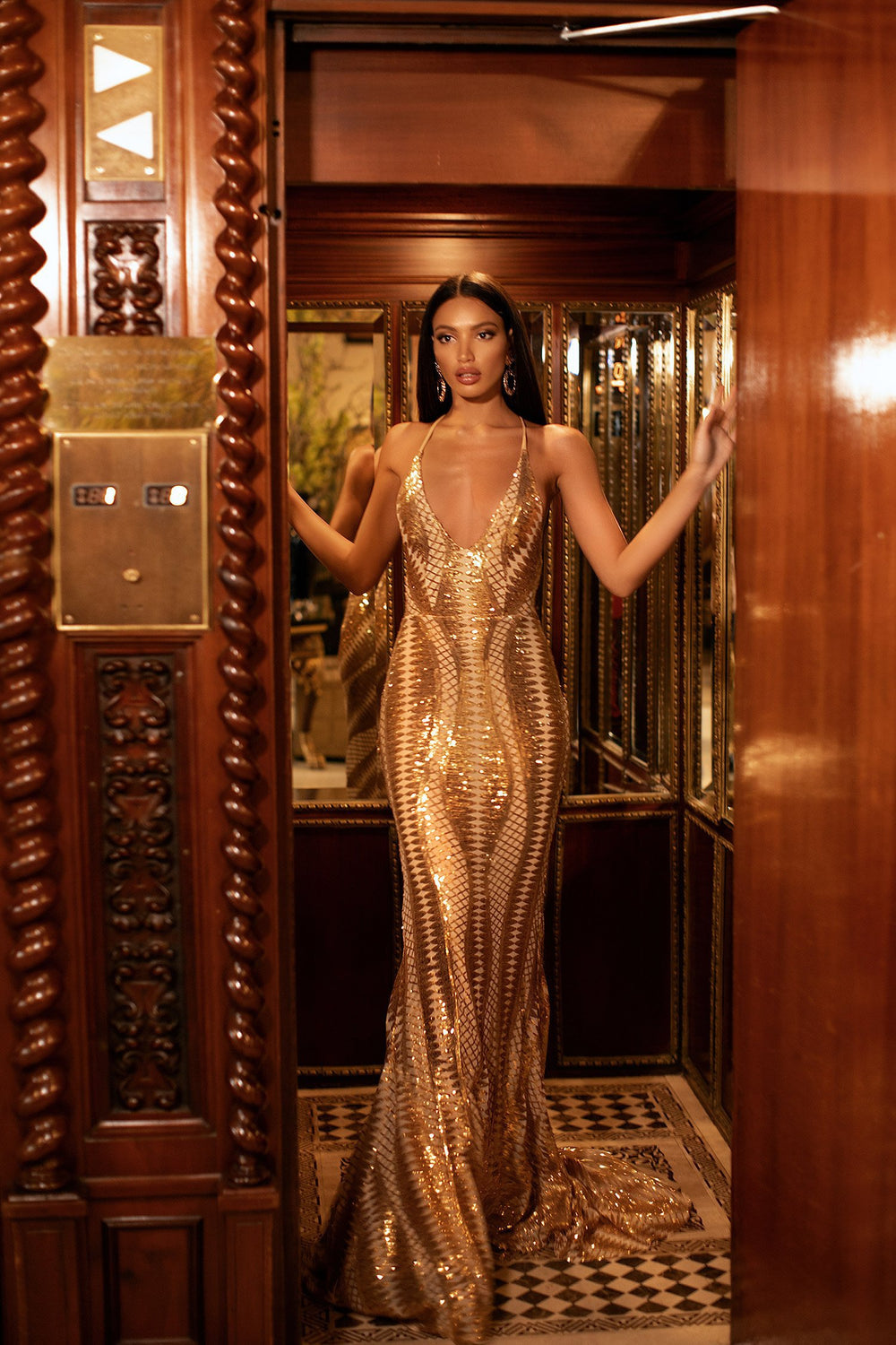 Luciya - Gold Sequin Gown with Plunge Neck, Criss Cross Back & Train