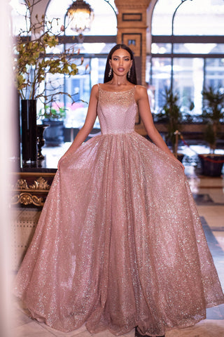 Amiyah - Rose Gold Backless Glitter A-line Gown with Straight Neckline