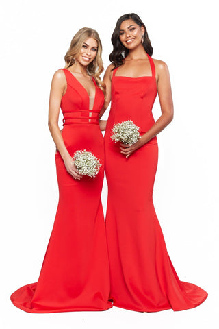 A&N Bridesmaids Alana - Red Plunge Neck Backless Mermaid Gown