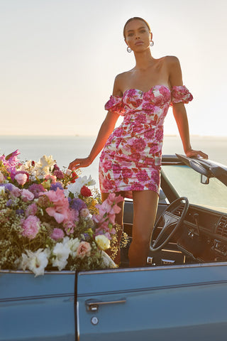 Carrie Dress - Pink Fitted Floral Mini with Puffy Sleeves & Bustier