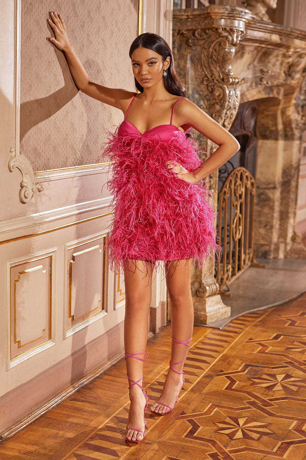 Kaila Dress - Hot Pink Fluffy Feathered Mini Dress with Thin Straps