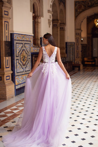Kailani - Lilac Embellished A-Line Tulle Gown with V-Neck