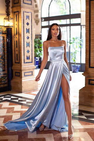A&N Bianca - Sky Blue Satin Gown with Side Slit and Lace up Back