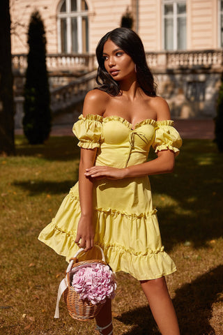 Alla - Yellow A-Line Mini Dress with Frill Detail Bodice