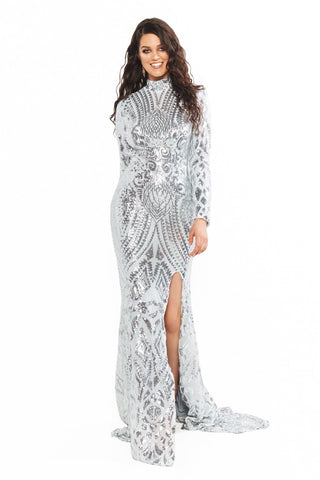 A&N Curve Saskia Sequin High Neck Long Sleeve Backless Gown - Silver
