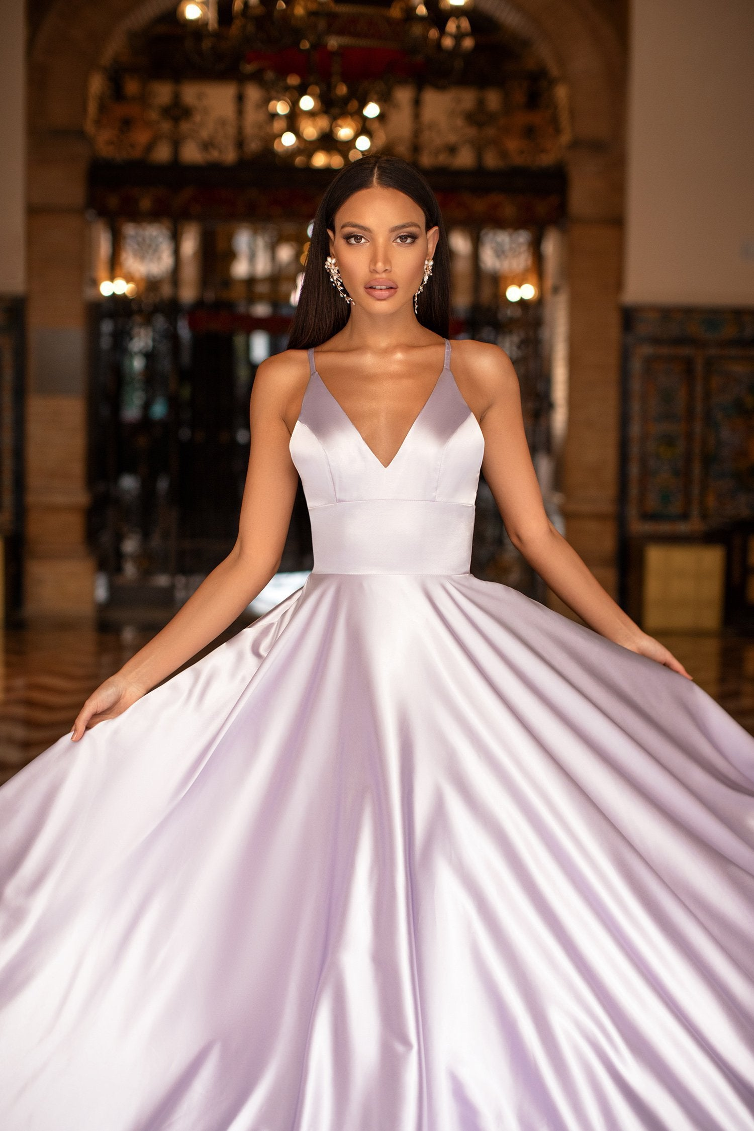 Maliyah - Lilac Satin A-Line Gown with Thin Straps & V-Neckline