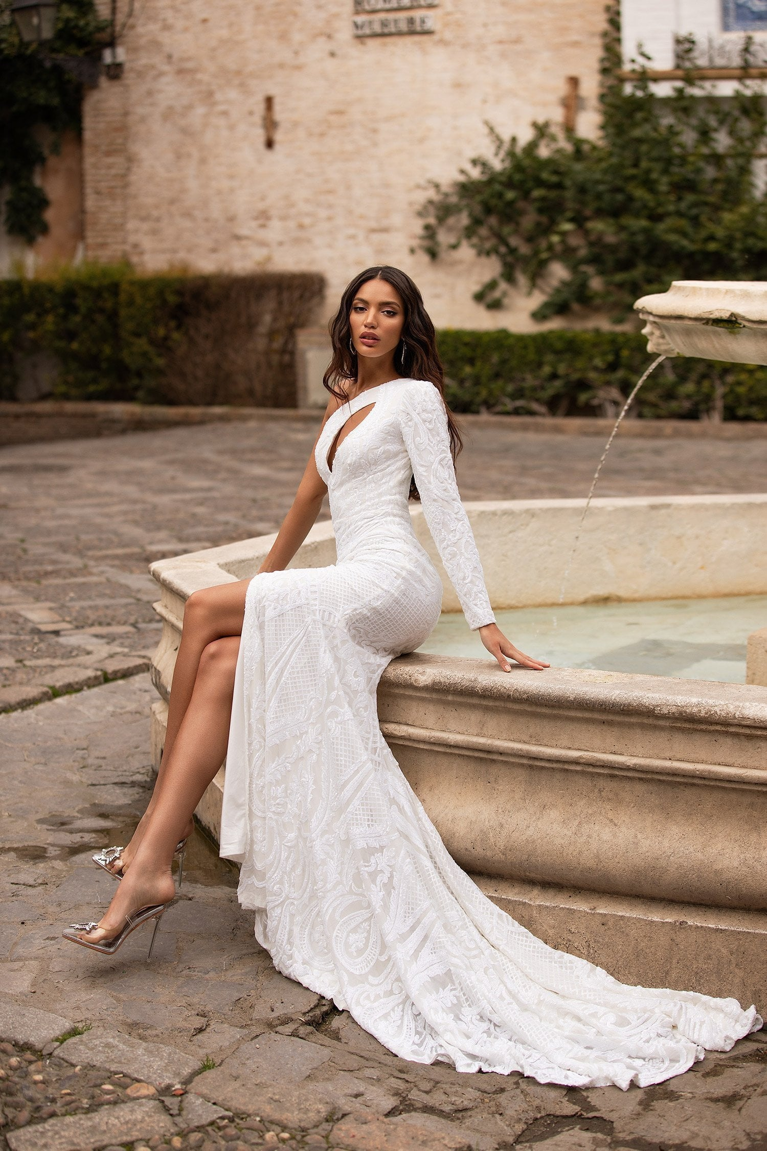 Evelia - White One-Shoulder Sequin Gown with Cut-Out & Side Slit