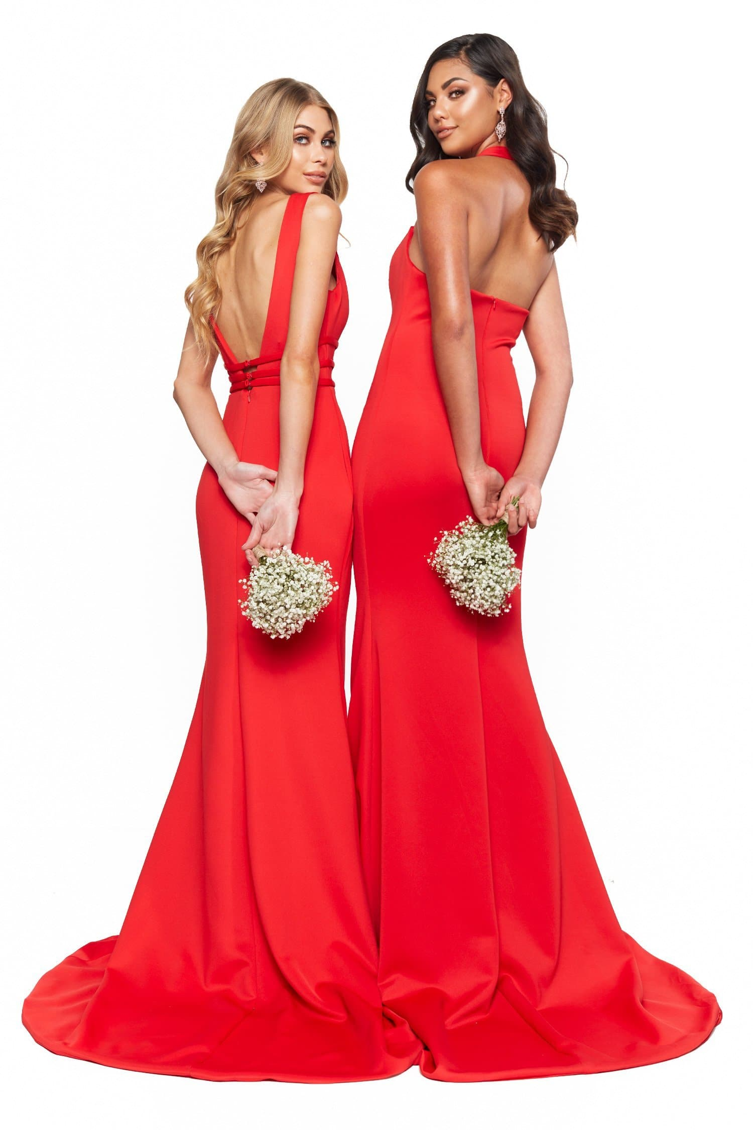 A&N Bridesmaids Ariah Halterneck Mermaid Gown - Red