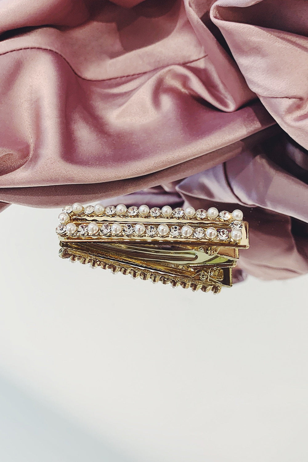 Pearl Diamante Gold Rectangle Hair Clip