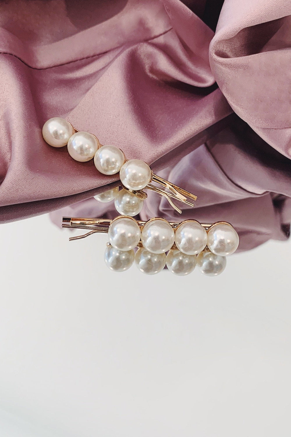 Gold Pearl Mini Hair Clips