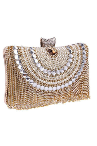 gold tassel clutch embellished with diamontes and gems, comes with a chain and full lined