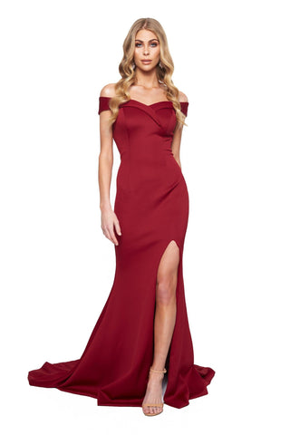A&N Bridesmaids - Burgundy Ester Ponti Off-Shoulder Gown with Slit