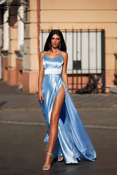 Bianca Satin Gown - Sky Blue