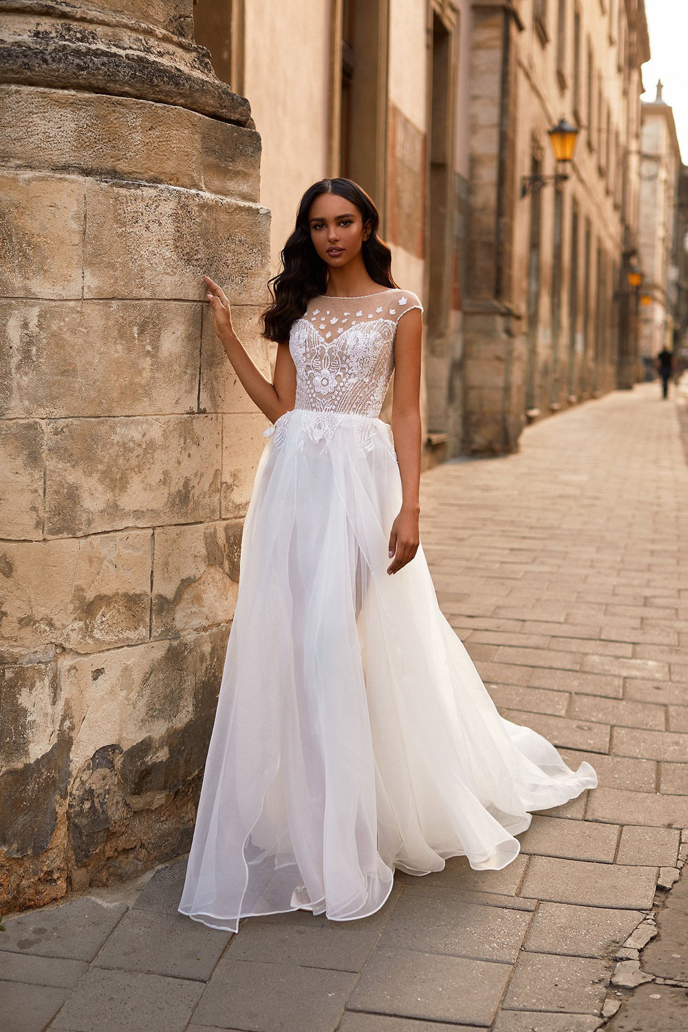 A&N Aleah - White Boho Bridal Gown with Glitter Embellished Bodice