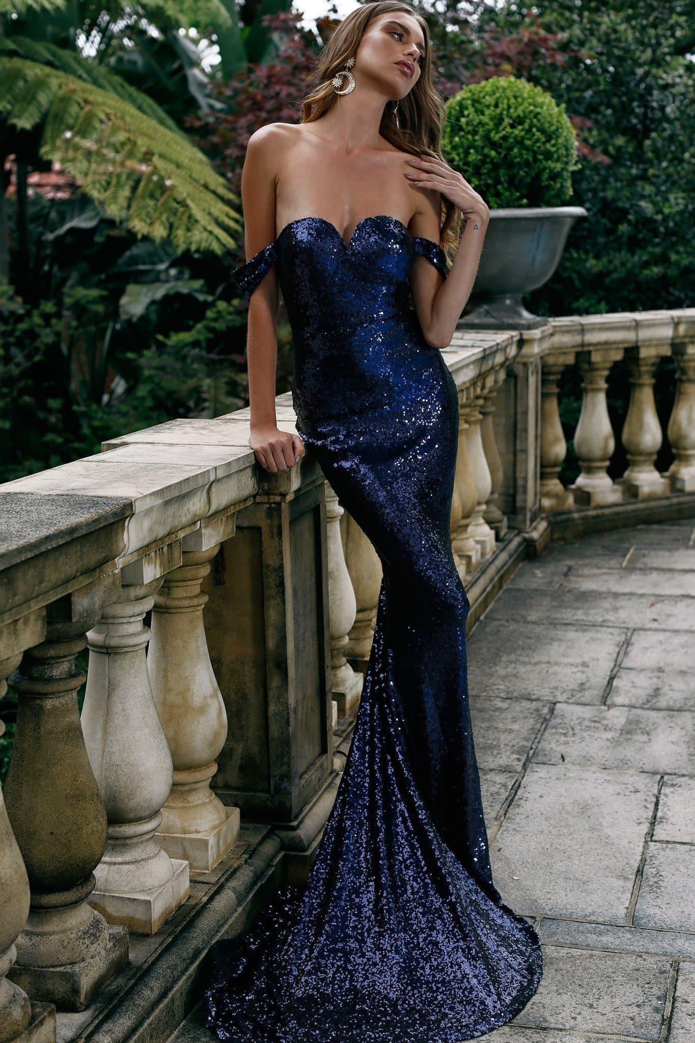 Jonquille - Navy Off Shoulder Sequin Gown with Mermaid Train