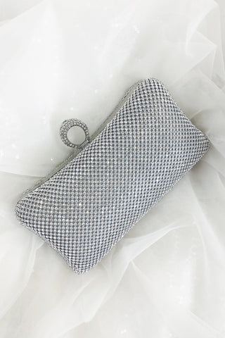 Glazori Serena Clutch - Silver Rectangle Diamante Statement Clutch