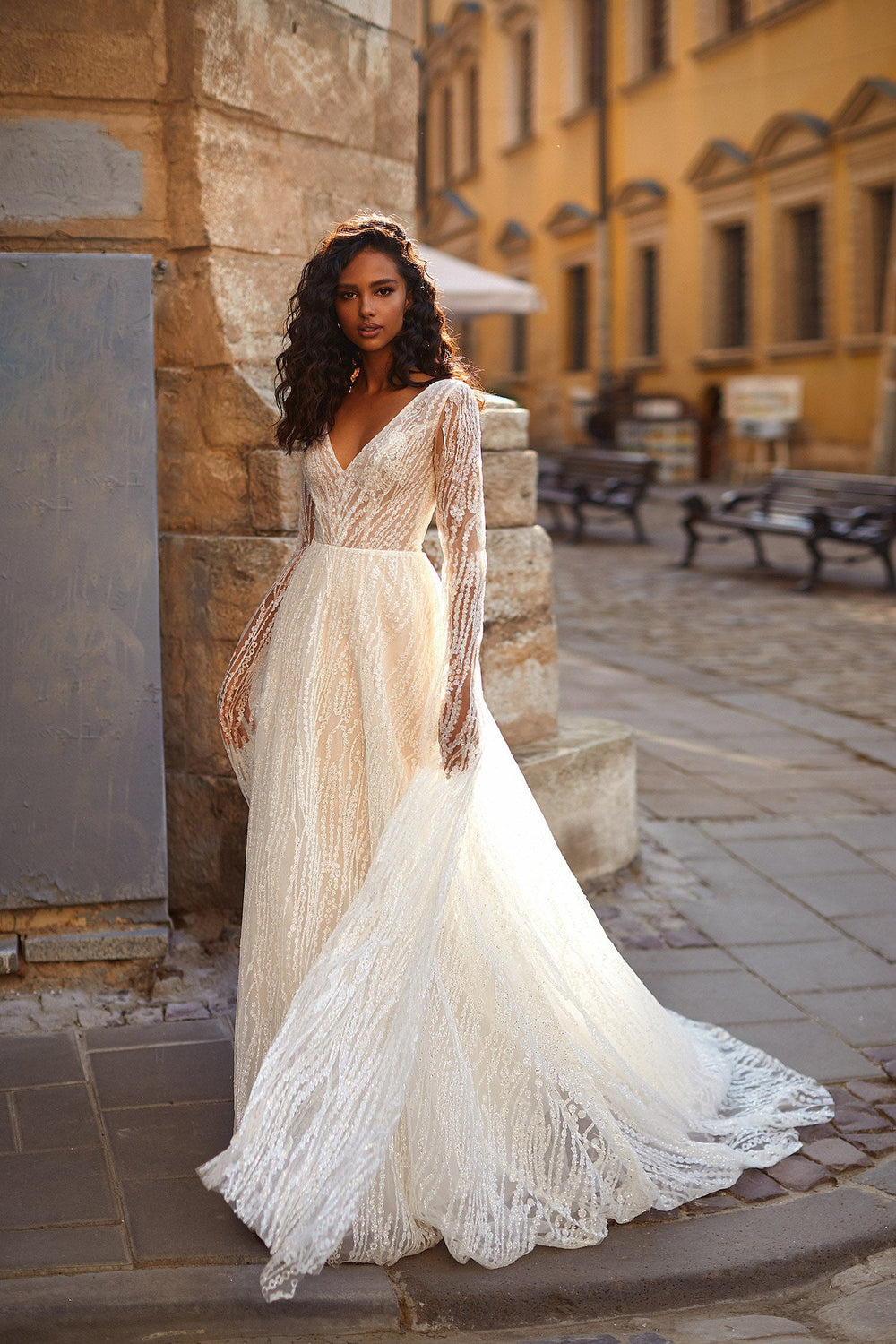 A&N Carolin - White Glitter Boho Bridal Gown with V-Neck & Cape Sleeves