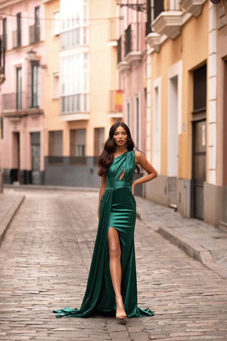 Elena - Emerald Satin One-Shoulder Gown with Side Slit & Mermaid Train