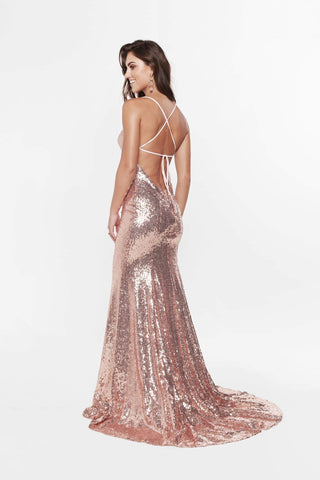 A&N Melina - Rose Gold Sequin Gown with Lace Up Back